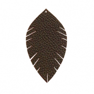 Faux leather pendants leaf small Dark Chocolate Brown