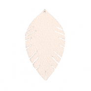 Faux leather pendants leaf small Delicacy Pink