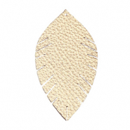 Faux leather pendants leaf medium Champagne Gold