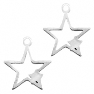 Stainless steel charms connector star Silver