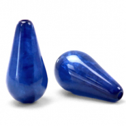 Polaris Elements drop shaped beads Mosso shiny Iolite Blue