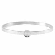 Polaris Steel bangle bracelet with setting for 7mm cabochon/Swarovski SS34 Silver