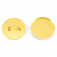 Brooch for cabochon 35 mm Gold