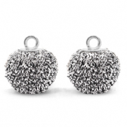 Pompom charms with loop glitter 12mm Black Silver-Silver