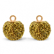 Pompom charms with loop glitter 12mm Bright Gold-Gold