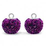 Pompom charms with loop glitter 12mm Acai Purple-Silver