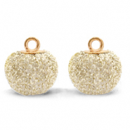 Pompom charms with loop glitter 12mm Almond White-Gold