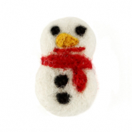 Charm with 1 eye felt snowman White-Red