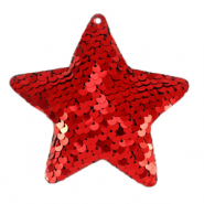 Charm with 1 eye sequin star Red