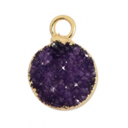 Natural stone charms crystal quartz 10mm Acai Purple-Gold