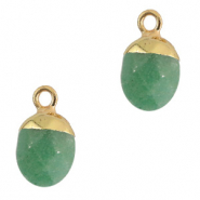 Natural stone charms Light Green-Gold