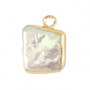 Freshwater pearls charm square Gold-Natural White