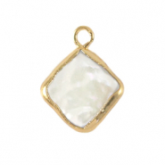 Freshwater pearls charm rhombus Gold-Natural White