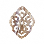 Resin pendants rhombus baroque Suger Almond Taupe