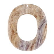 Resin pendants oval 48x40mm Suger Almond Taupe