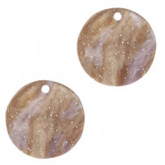 Resin pendants round 12mm Suger Almond Taupe