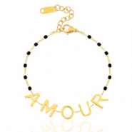 "Stainless steel bracelets ""amour"" Gold-Black"