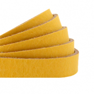 DQ European leather flat 10 mm Ochre Yellow