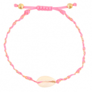 Ready-made Bracelets Cowrie braided Neon Pink