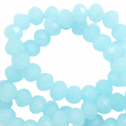 Top faceted beads 4x3mm disc Crystal Blue-Pearl Shine Coating