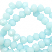 Top faceted beads 4x3mm disc Seafoam Blue-Pearl Shine Coating