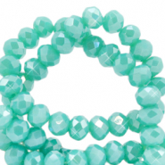 Top faceted beads 4x3mm disc Light Teal Green-Half Diamond Coating