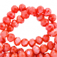 Top faceted beads 6x4mm disc Fiery Red-Pearl Shine Coating