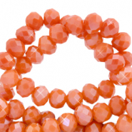 Top faceted beads 6x4mm disc Spicy Orange-Pearl Shine Coating