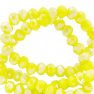 Top faceted beads 6x4mm disc Blazing Yellow-Pearl Shine Coating