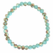 Top faceted bracelets 6x4mm Turquoise Blue-Half Gold Diamond Coating