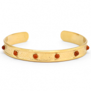 Stainless steel bracelets with Red Jasper Gold-Red