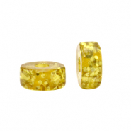 Polaris beads disc 6mm Glitzer Olive Oil Yellow