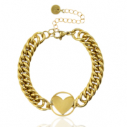 Stainless steel bracelets chain link heart Gold
