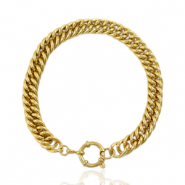 Stainless steel bracelets chain link bolt ring clasp Gold