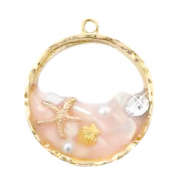 Charms with shell and pearl Gold-Pink