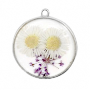 Charms with dried flowers Silver-White Purple