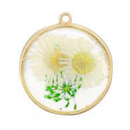 Charms with dried flowers Gold-White Green