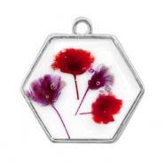 Charms with dried flowers hexagon Silver-Red