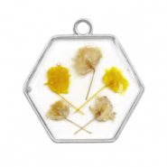 Charms with dried flowers hexagon Silver-Yellow
