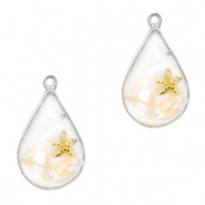 Charms with shell and pebbles drop Gold-White