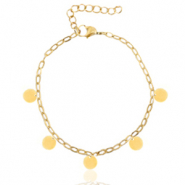 Stainless steel anklets belcher chain coins Gold
