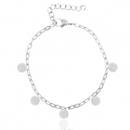 Stainless steel anklets belcher chain coins Silver