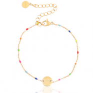 Stainless steel bracelets rainbow coin Gold-Multicolour