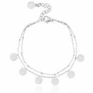 Stainless steel anklets 2 layer coins Silver
