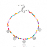 Stainless steel bracelets rocailles and coins Silver-Multicolour