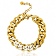 Stainless steel bracelets chain link strass Gold