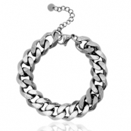 Stainless steel bracelets chain link strass Silver