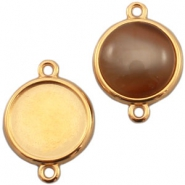 DQ metal setting 2 loops for 12mm cabochon Gold (nickel free)