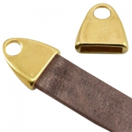 DQ metal end cap with loop (for 10mm DQ flat leather)  Gold (nickel free)