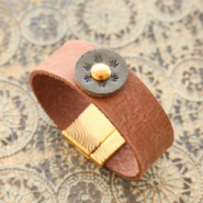 Handmade jewellery: DQ European leather bracelet with cabochon ♡ DIY